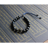 Blue Eagle Eye Stone With Six True Mantra Words Bracelet