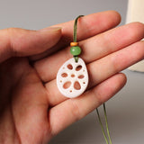 Tagua Nut Artisan Carved Lotus Root Pendant