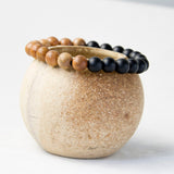 Natural Wood With Black Onyx Meditation Bracelet
