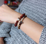 Red Sandalwood with Lotus Flower Bracelet