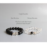 Handmade Black Obsidian & Pure crystal Lovers Bracelets