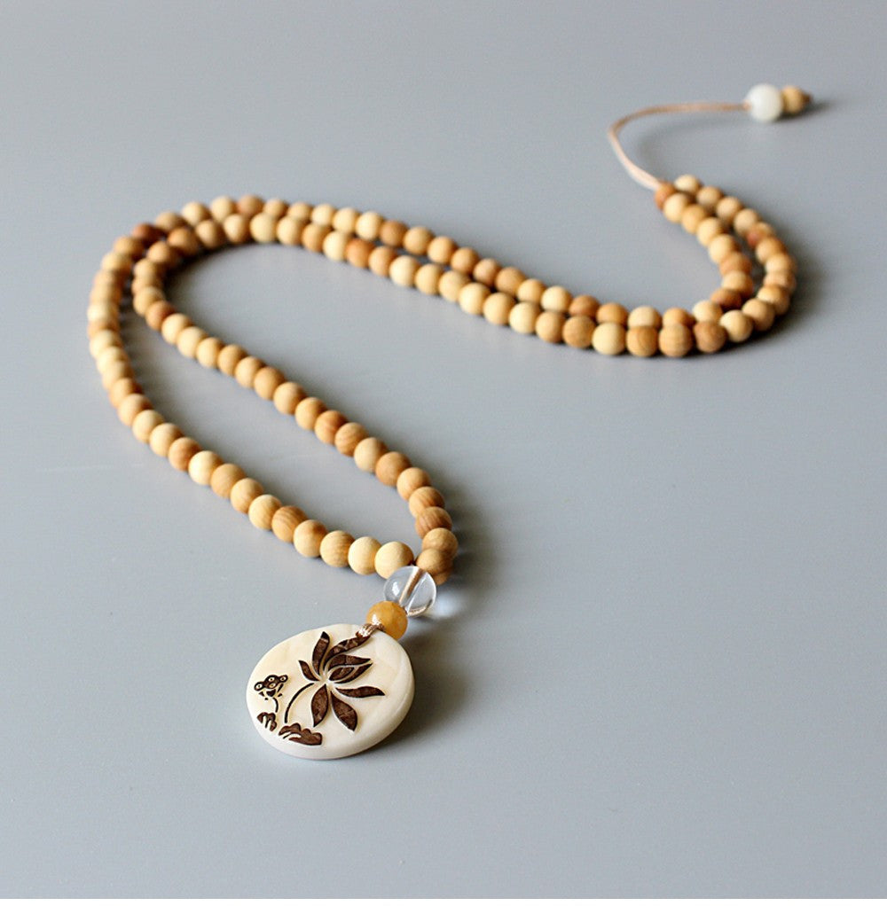 Zen Buddhism Lotus Mala Necklace