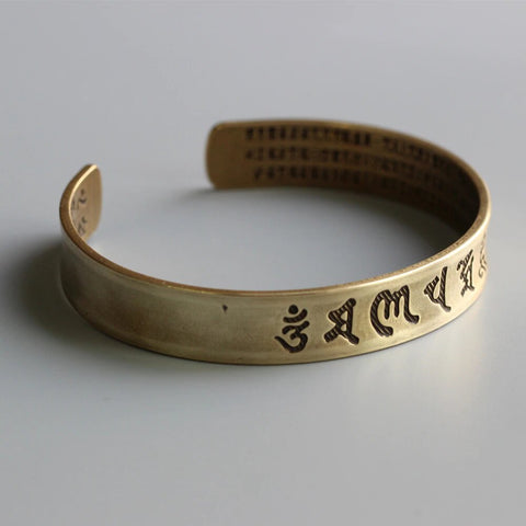 The Heart Of Prajna Paramita Sutra Brass Bangle