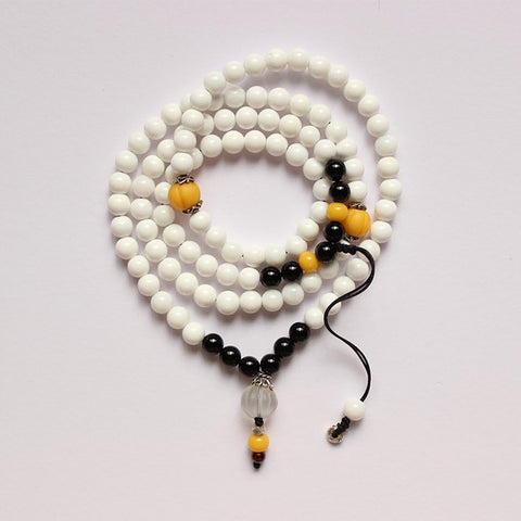 White Mother Of Pearl Necklace & Bracelet