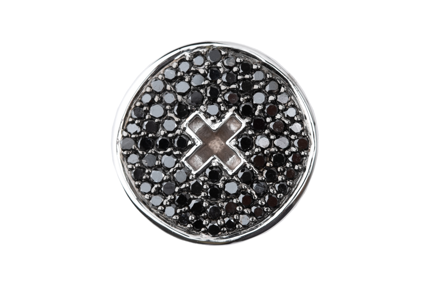 WHITE GOLD BUTTON BLACK DIAMONDS