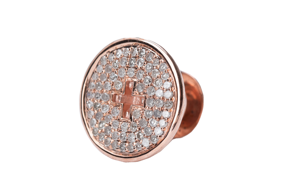 ROSE GOLD BUTTON WHITE DIAMONDS