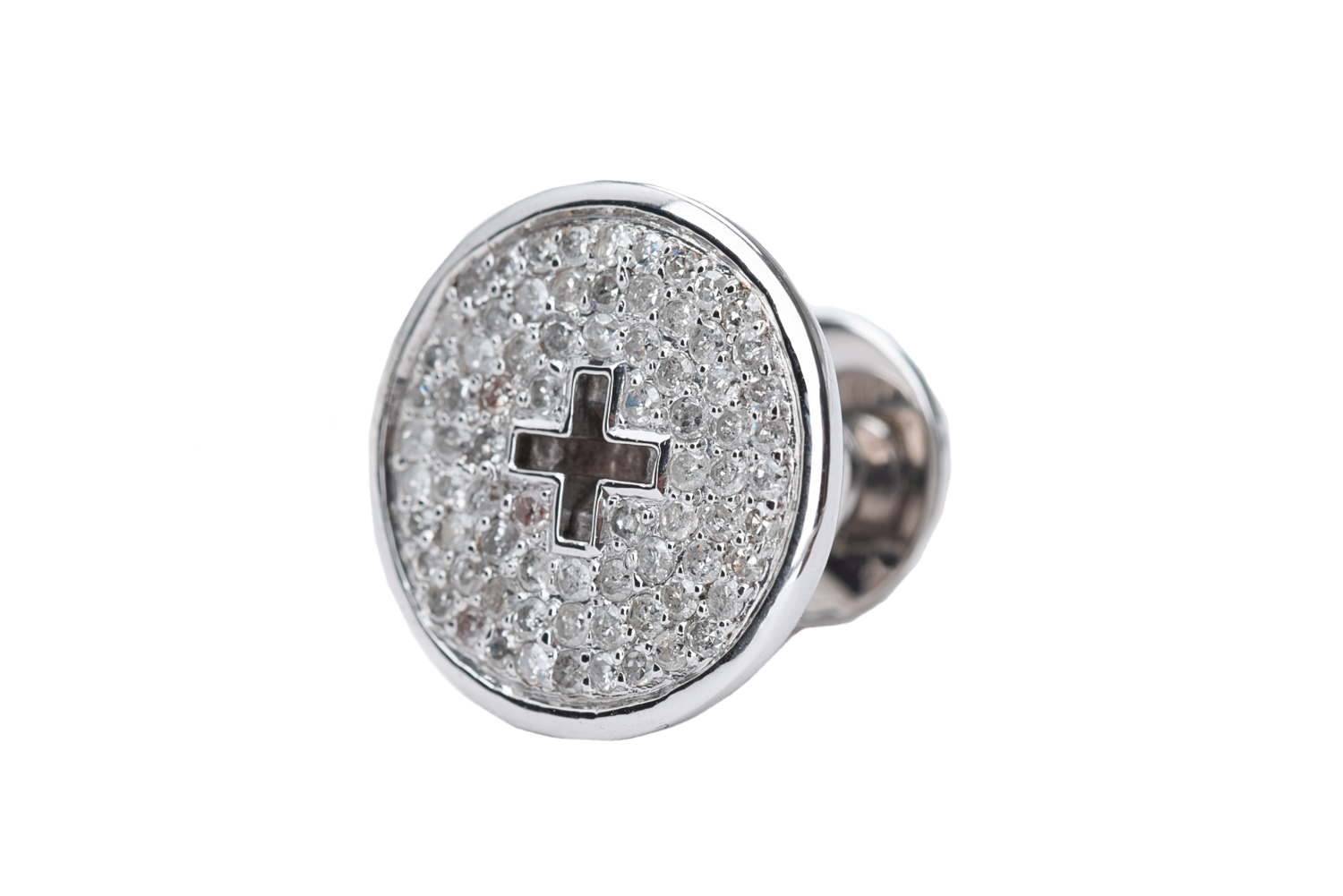 WHITE GOLD BUTTON WHITE DIAMONDS
