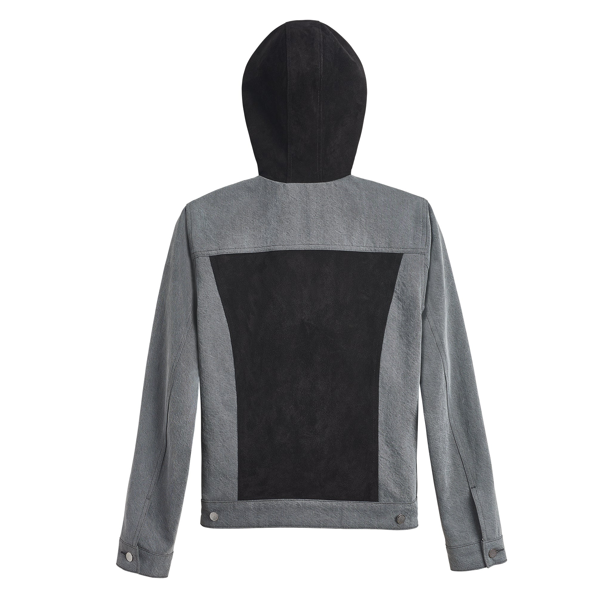 DIAMOND DENIM LAMB SUEDE HOODED JACKET