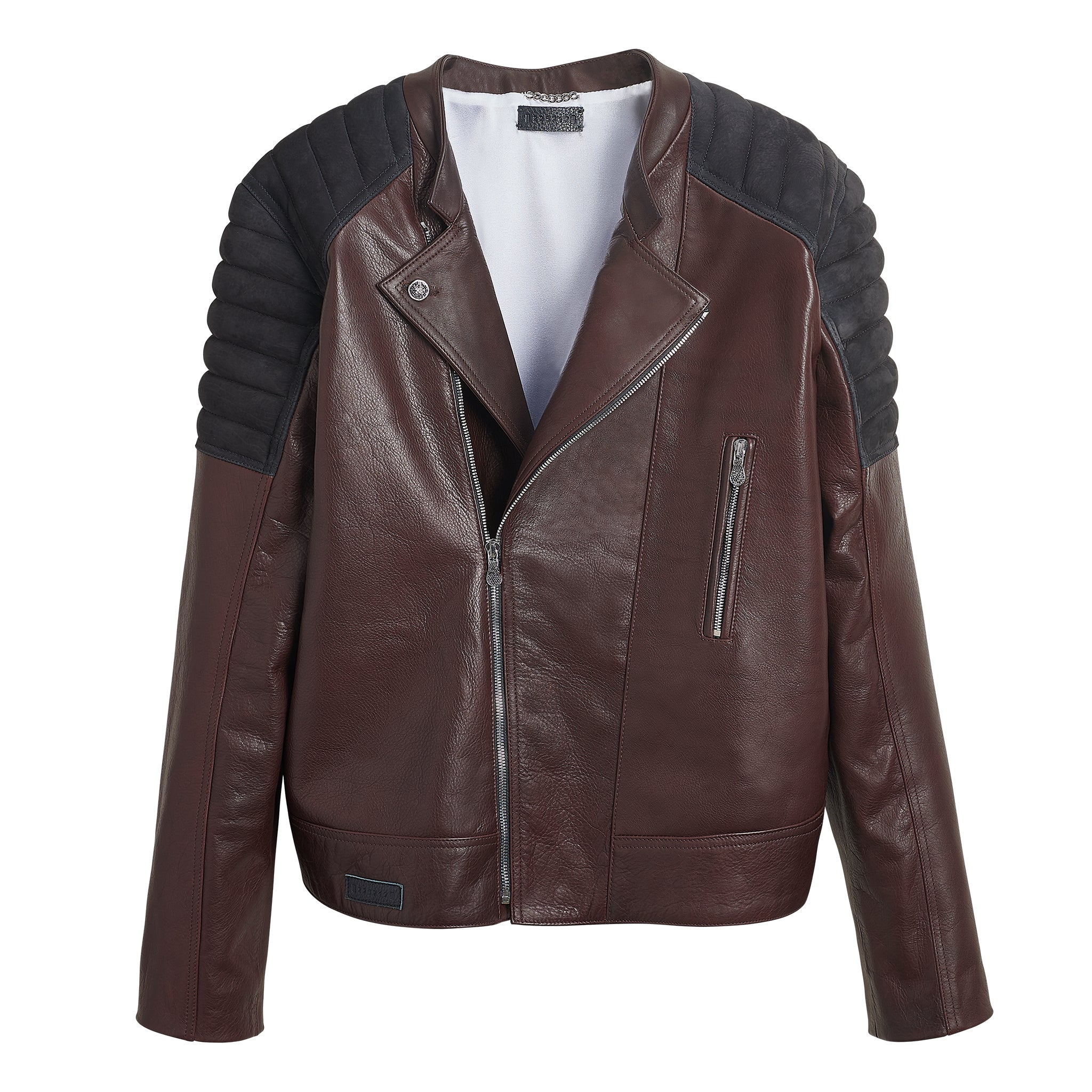 DIAMOND LEATHER MOTO JACKET BROWN