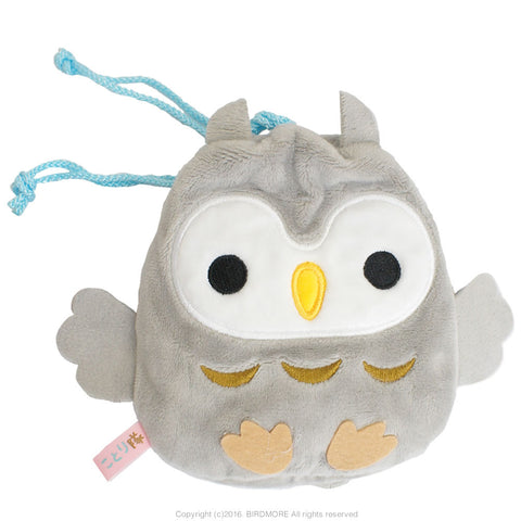 Amuse Kotoritai Kinchaku Pouch - Gray Horned Owl