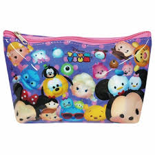 Tsum Tsum Vinyl Cosmetic Pouch - Pink/Red Design