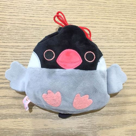 Amuse Kotoritai Kinchaku Pouch - Gray/Black Java Sparrow