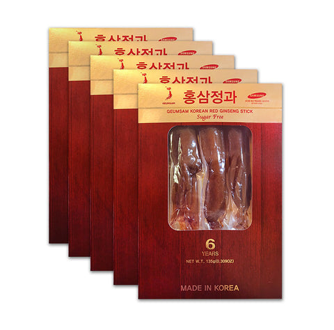 GEUMSAM Korean Red Ginseng Stick Sugar Free 135g/4.76oz (Lasts 15 Days) (Buy 4 Get1 Free) Total of 5 Boxes