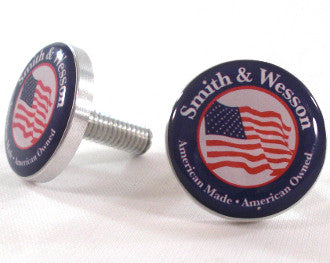 CH14189 Chromed Hog License Frame Bolts Smith & Wesson & The American Flag Set of 2