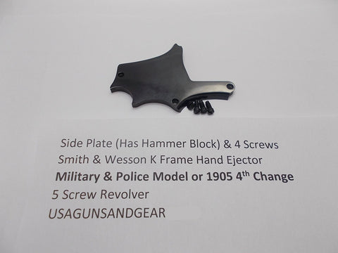 K259 Smith & Wesson K Frame M&P Model 1905 4th Change Side Plate w/Screws Used