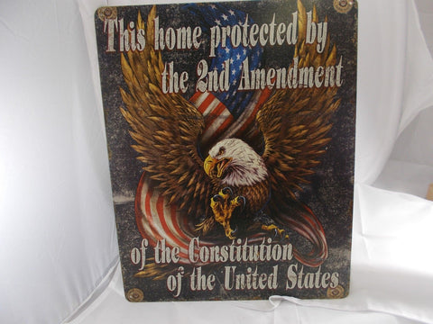 "HL002 ""This Home Protected by the 2 Amendment"" Tin Sign Pistol Gun"