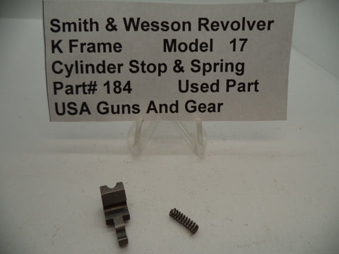 184 Smith & Wesson K Frame Model 17 Revolver Cylinder Stop & Spring Used .38 sp