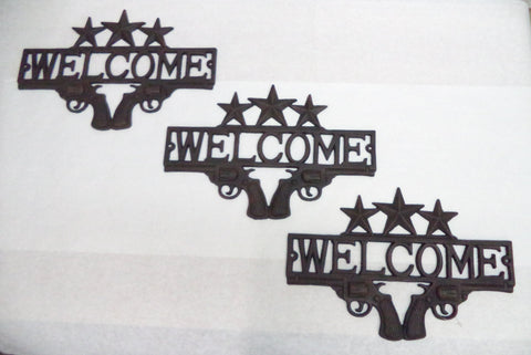 Dual Revolver Welcome Sign Quantity of 3  Rustic Western Charm