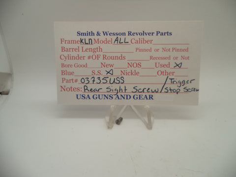 03735USS Smith & Wesson K,L,N Rear Sight Screw Stainless Steel Old Style