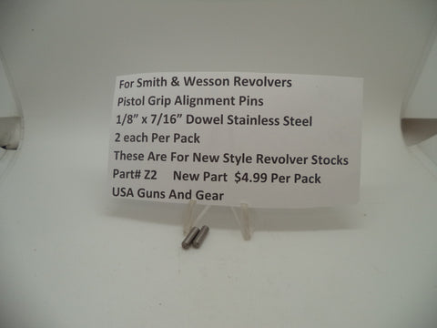 Z2 Smith & Wesson Pistol Grip Alignment Pins 2 Pack New Part Stainless Steel