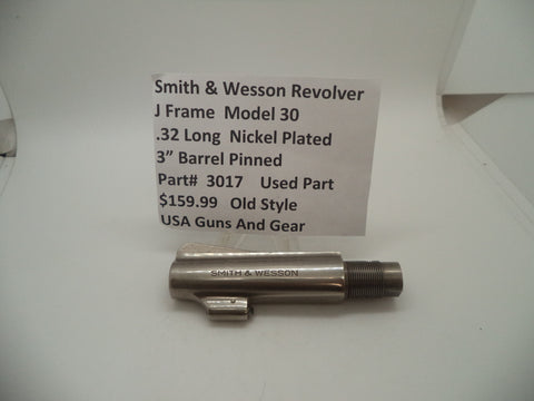 "3017 Smith & Wesson J Frame Model 30 Used Nickel 3"" Pinned Barrel .32 Long"