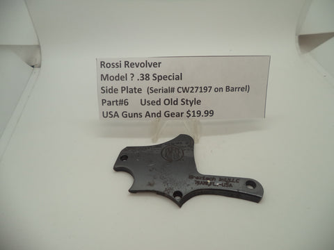 6 Rossi Revolver (Model ?) Side Plate Used Old Style .38 Special