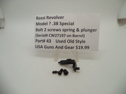 43 Rossi Revolver (Model ?) Bolt 2 Screws Spring & Plunger Used .38 Special