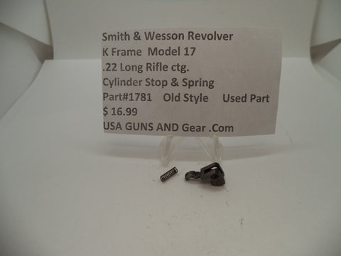 1781 Smith & Wesson K Frame Model 17 Used Cylinder Stop & Spring .22 LR ctg.
