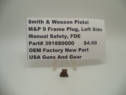 391880000 Smith & Wesson Pistol M&P 9 Frame Plug, Left Side Manual Safety New