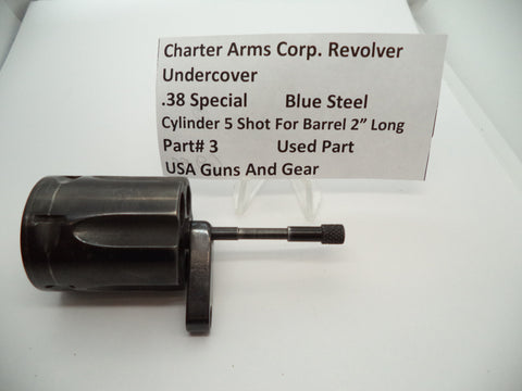 "3 Charter Arms Undercover Revolver Cylinder for 2"" Barrel Blue Used .38 Special"