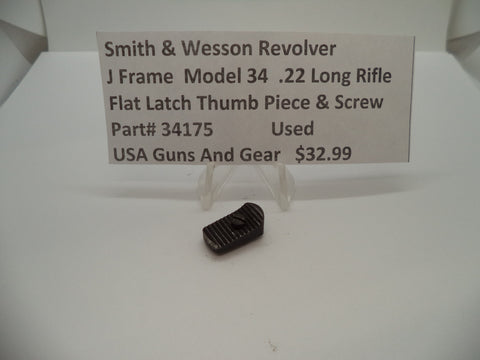 34175 Smith & Wesson J Frame Model 34 Flat Latch Thumb Piece & Nut .22 Long Rifle