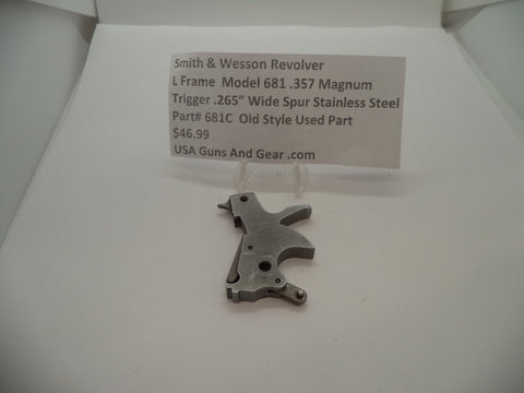 "681C Smith & Wesson L Frame Model 681 Used .265"" Wide Trigger .357 Magnum"