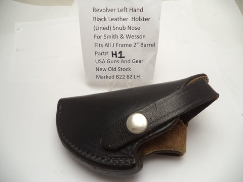 "H1 Revolver Left Hand Black Leather Holster for Smith & Wesson fits All J Frame 2"" Barrel"
