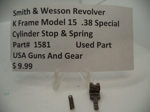 1581B Smith & Wesson K Frame Model 15 Cylinder Stop & Spring .38 Special Used Part