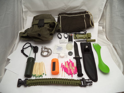 SV11 Emergency Survival EDC Kit 60+ Pieces, Knife, & USGI Pouch