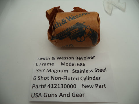 412130000 Smith & Wesson L Frame Revolver Model 686 Cylinder Non-Fluted New Part