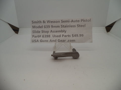 6398 Smith & Wesson Model 639 9 MM Slide Stop Assembly Stainless Steel Used Parts