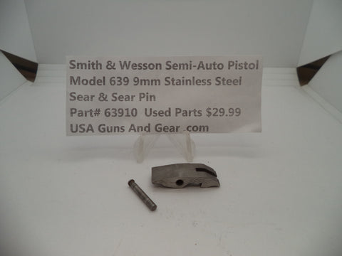 63910 Smith & Wesson Model 639 9 MM Sear & Sear Pin Stainless Steel Used Parts
