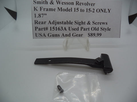Part# 15163A Smith & Wesson K Frame Model 15 to 15-2 ONLY Rear Adjustable Sight & Screws