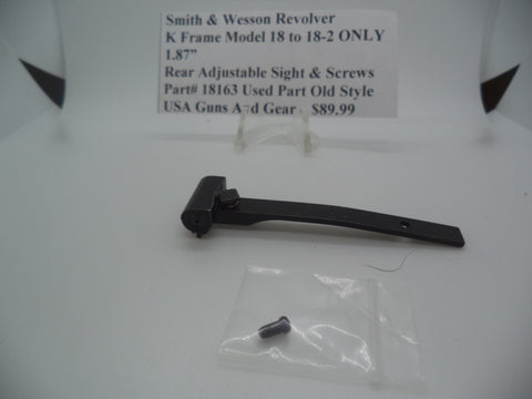 Part# 18163 Smith & Wesson K Frame Model 18 to 18-2 ONLY Rear Adjustable Sight & Screws