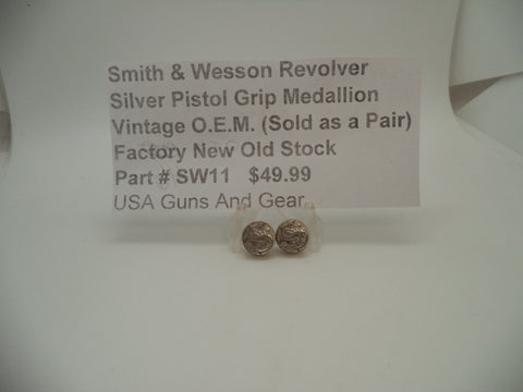 SW11 Smith & Wesson Vintage Revolver Pistol Grip Medallion Pair New Old Stock