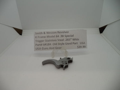 "64184 Smith & Wesson K Frame Model 64 .38 Special Target Trigger .265"" Used"
