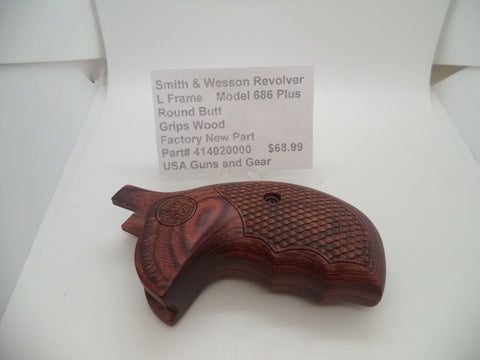414020000 Smith & Wesson L Frame Model 686 Plus Wood Grips New Part