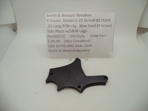 K22C Smith & Wesson K Frame Model K22 Side Plate w/ Logo .22 Long Rifle