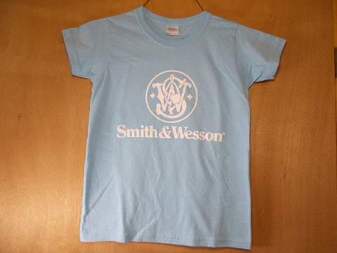 TS009 Smith & Wesson New Ladies Baby Blue T-Shirt