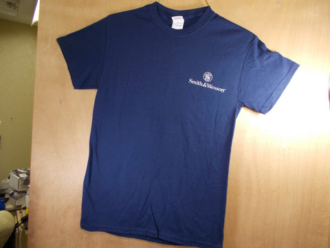 TS010 Smith & Wesson New T-Shirt Navy Blue S&W Logo Front & Back