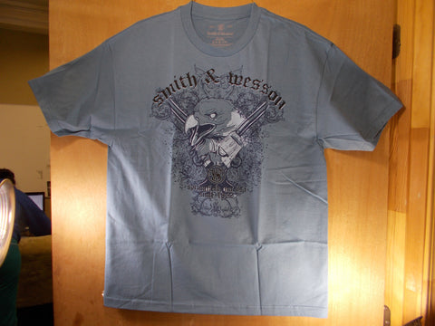 TS015 Smith & Wesson New T-Shirt With Light Blue Eagle Head In Between 2 Pistols Revolvers