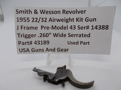 "43189 Smith & Wesson J Frame Pre Model 43 Trigger .260"" Wide Serrated Used Part"