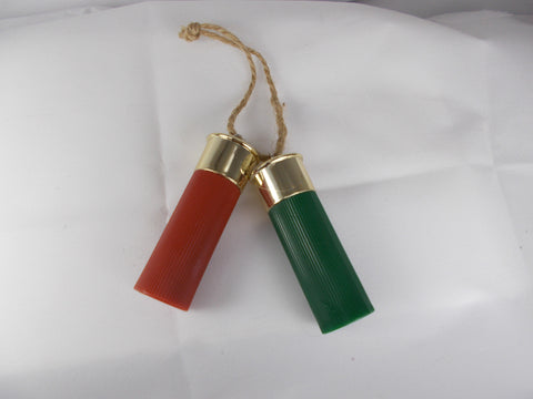 HL012 Red & Green Plastic Shotgun Shell Ornaments