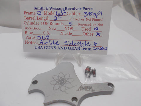 J68 Smith and Wesson J Frame Model 637 Sideplate Airlite Used 38 Spl